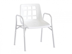 Shower Chair, Aluminium, with Arms, Wide 510mm (150KG capacity)