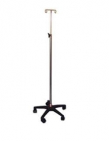 IV Stand, plastic 5 leg base with castors, double hook IV